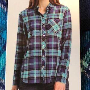 Woolrich Flannel Shirt Hi Low Hem Teal Navy